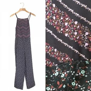 Anthropologie Dolan Floral Jumpsuit Chevron Stripe
